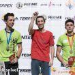 "Podio masculino tercera prueba Copa España Escalada, celebrada en Expotural (Ifema). Javi Cano (2º), Ramón Julián ""Ramonet"" (ganador) y Alberto Ginés (3º)"