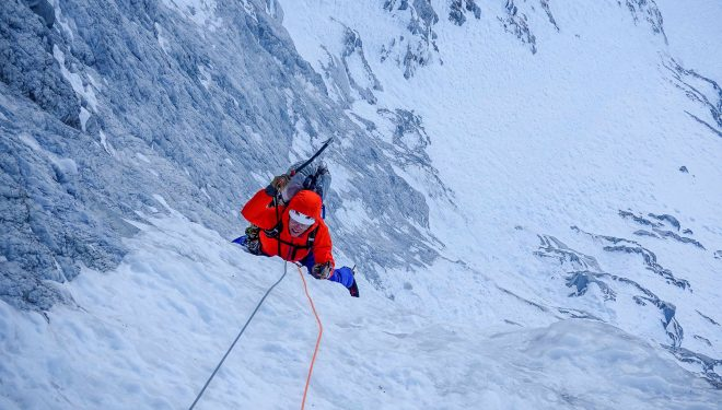 Chris Wright en el tramo clave de hielo de 'The indirect American' al Mt. MacDonald