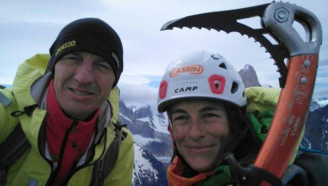 Denis Urubko y Pipi Cardell en la cima del Cerro Solo