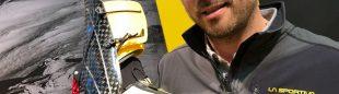 Xavier Garriga con la nueva bota 56. Olympos Mons Cube de La Sportiva, en Ispo Múnich 2019