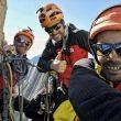 """Los hermanos Pou y Manu Ponce durante la apertura de """"Burrito Chin de los Andes"""" (6b/700 metros) al Cerro Tornillo (4.900 m.). Cordillera Blanca, Andes del Perú. Julio 2019."""