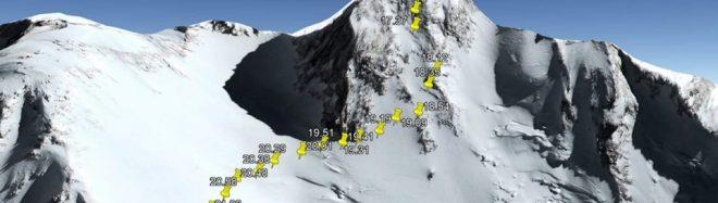 Croquis del descenso de Cala Cimenti del Nanga Parbat