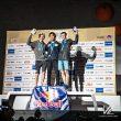 Tomoa Narasaki (1º), Jakob Schubert (2º) y Rishat Khaibullin (3º) en la prueba Combinada del Campeonato del Mundo de Escalada 2019 en Japón.