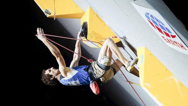 Adam Ondra compitiendo en dificultad en el Campeonato Mundo Escalada, Japón 2019. Quedó Campeón del Mundo escalada de dificultad.
