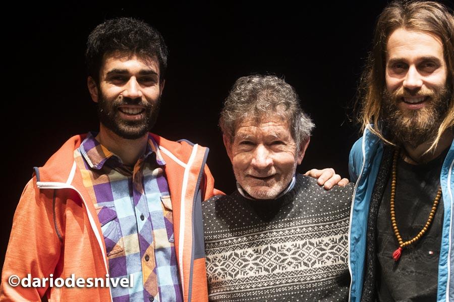 Carlos Soria con los hermanos Pantoja (Alberto y Álvaro) en las Jornadas Montaña de Moralzarzal 2019.