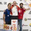 Podio masculino tercera prueba de la Copa de España de Escalada de Dificultad 2019: ganadora Bittor Esparta, segundo Pau Galofre y tercero Iñaki Arantzamendi.