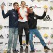 Podio masculino Copa España Escalada Dificultad 2019: ganador Bittor Esparta, segundo Iker Ortiz y tercero Javi Can