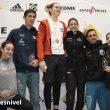 Podio femenino y masculino Copa de España Escalada Dificultad 2019. Ganadora Antia Freitas, segunda Maja Jonjic y tercera Aida Torres. En hombres, ganador: Bittor Esparta, segundo Iker Ortiz y tercero Javi Cano.