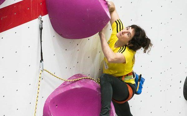 Helena Alemán en la tercera prueba de la Copa de España de Escalada de Dificultad 2019 celebrado en Climbat X-Madrid. Quedó séptima en esta prueba y cuarta en la general de la Copa de España de Escalada de Dificultad 2019.