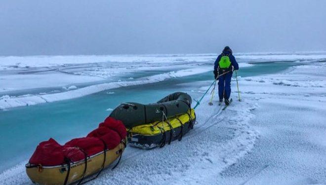 Borge Ousland y Mike Horn en la travesía a pie del hielo ártico