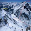 Líneas de ascensión a los Gasherbrums invernales que pretenden Simone Moro y Tamara Lunger