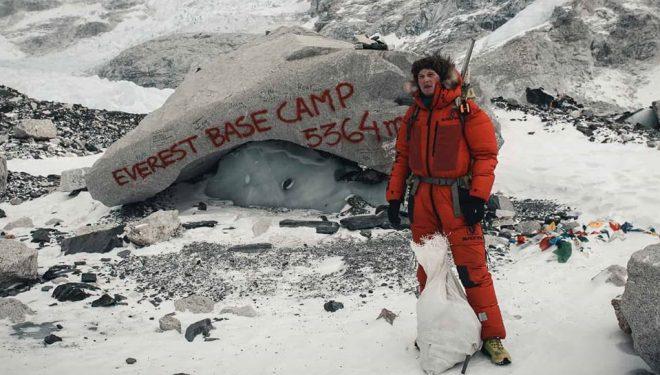 Jost Kobusch, en el campo base del Everest