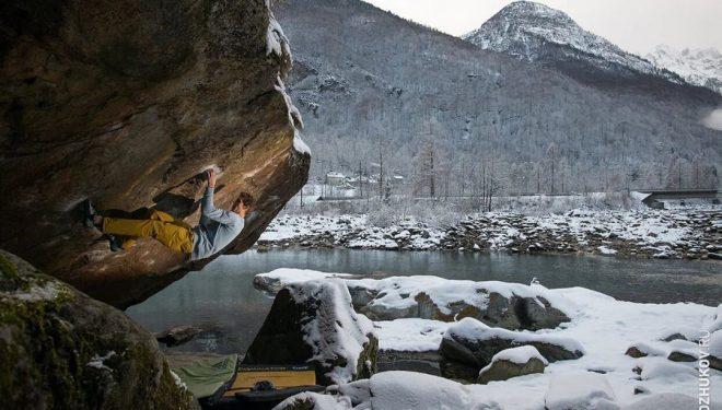 Vadim Timonov escalando en Suiza en enero de 2020