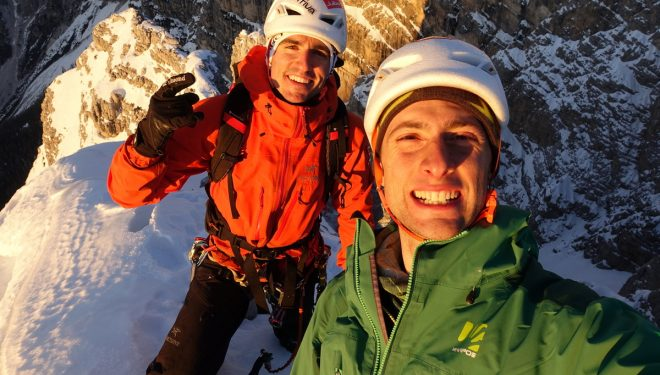 Álvaro Lafuente y Mirco Grasso en 'Apus' a la Rochetta Alta di Bosconero (Dolomitas)