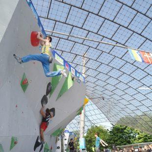 Un escalador de la seleccion ucraniana en la Copa del Mundo de Munich 2019