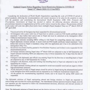 Comunicado oficial gobierno Nepal respecto a prohibición/limitaciones viajar Nepal por COVID 19