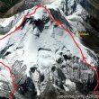 Línea de la arista noroeste del Dhaulagiri y descenso por la ruta normal