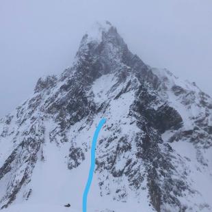 Mitre Peak, con el punto de la caída de Jacek Czech y Dominik Malirz marcado