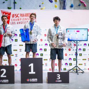 Podio masculino del Campeonato Panamericano 2020: 1º Colin Duffy, 2º Zach Galla, 3º Zander Waller.