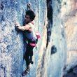 """Javier Arnaudas en la vía """"Mosnen"""" (7b), Escalete, año 1988"""