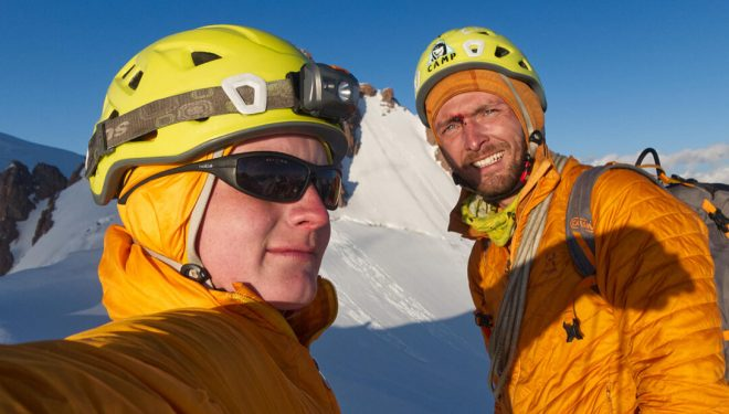 Grigory Chshukin y Kirill Belotserkovskiy en el pico Trud (Trans-Ili Alatau, Tian Shan)