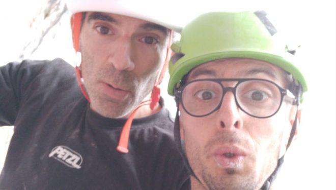 Dani Andrada y José Luis Palao en 'Endemia' (Urdón, desfiladero de la Hermida)