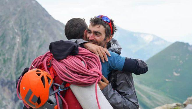 "Mikel Zabalza y Javi Guzmán tras escalar ""Divina Providencia"", Mont Blanc"