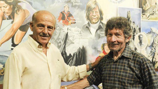 Salvador Rivas y Carlos Soria en la Librería Desnivel en el año 2010.