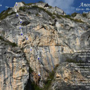 Croquis de 'Anosmia' (250 m, 8b+) en Mavrovo (Macedonia del Norte).