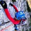 Sergi Mingote, escalando en la cara norte del Pedraforca.
