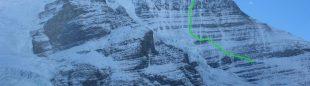 Línea de 'Running in the shadows' a la Emperor Face del Mt. Robson.