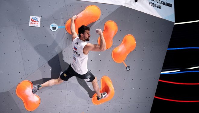 Jernej Kruder en la semi-final de la 2020 IFSC European Championships En Moscú