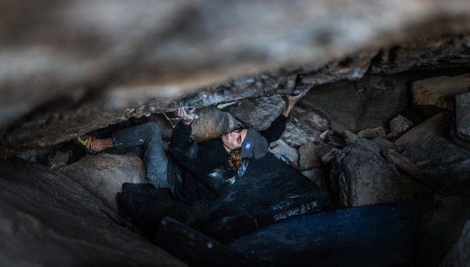 Sean Bailey en 'The grand illusion' 8C+ de Little Cottonwood Canyon.