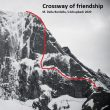 Línea de 'Crossway of friendship' al Piz Badile.