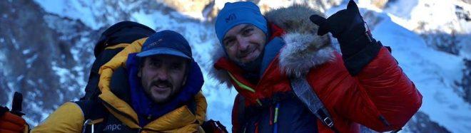 Juan Pablo Mohr y Sergi Mingote en el K2 invernal.