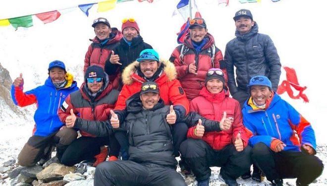 Nirmal Purja, Gelje Sherpa, Mingma David Sherpa, Mingma Tenzi Sherpa, Pem Chhiri Sherpa, Dawa Temba Sherpa, Mingma Gyalje Sherpa, Dawa Tenzin Sherpa, Kili Pemba Sherpa y Sona Sherpa