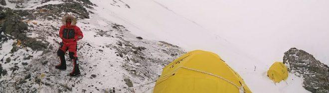 Sergi Mingote en el C1 del K2 invernal.