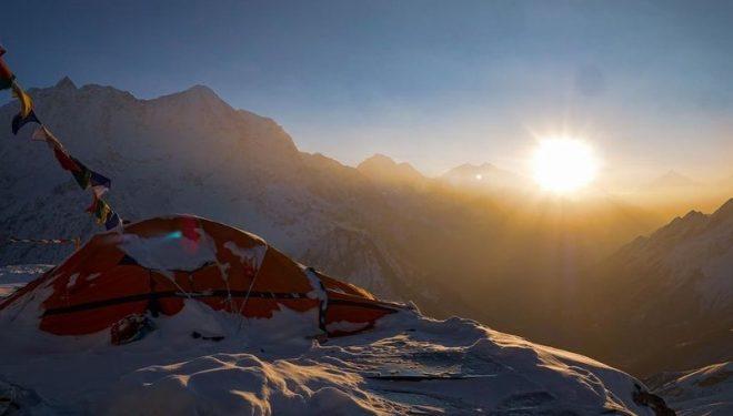 Campamento de altura en el Manaslu invernal.