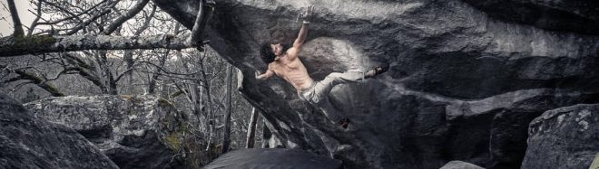 Nico Pelorson en 'Soudain seul' 8C+ de Fontainebleau.