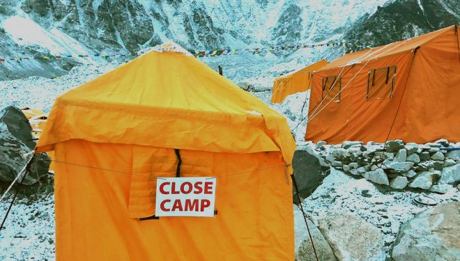 Campo base del Everest en época de Covid.