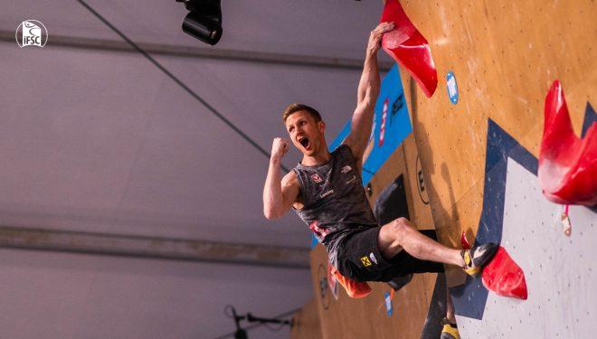 Jakob Schubert en la final Copa del Mundo de Búlder de Salt Lake City en la que quedó tercero