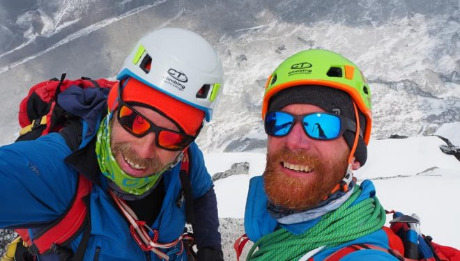 Zdenek Hák y Jaroslaw Bansky en la cima del Kangchung Shar (6.063 m).