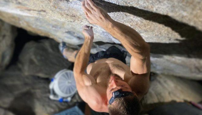 Matt Fultz en 'Grand illusion' 8C+ de Little Cottonwood Canyon.