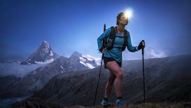 Hillary Gerardi corriendo en el Mettelhorn, Zermatt, Switzerland.