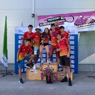 La selección española de escalada de velocidad en la Copa de Europa de Gaflenz 2021.
