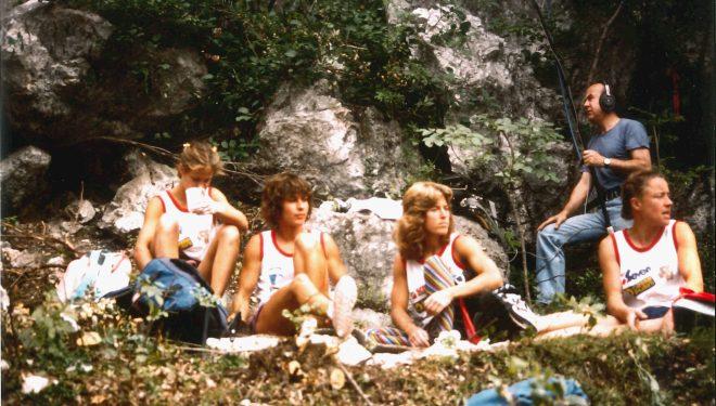 Escaladoras finalistas en Bardonecchia'85, de izda a dcha: Isabelle Patisiere, Catherine Destivelle, Lynn Hill y Christine Gambert.