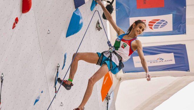 Laura Rogora, en la Copa del Mundo de Escalada de Dificultad de Chamonix 2021.