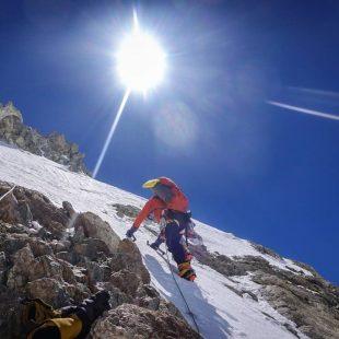 Graham Zimmerman e Ian Welsted en la arista oeste del K2.