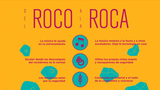 """Cartel de buenas prácticas """"Del roco a la roca"""", por Escalada Sostenible"""