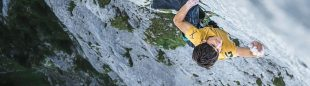 Lukas Sager en 'Yeah man' (300 m, 8b+) de Gastlosen.